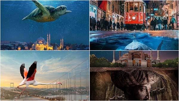 İstanbul'un simgelerini 'fantastik' tasarımlarla anlatıyor