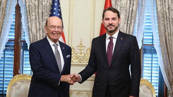 Bakan Albayrak ile ABD Ticaret Bakanı Ross bir araya geldi
