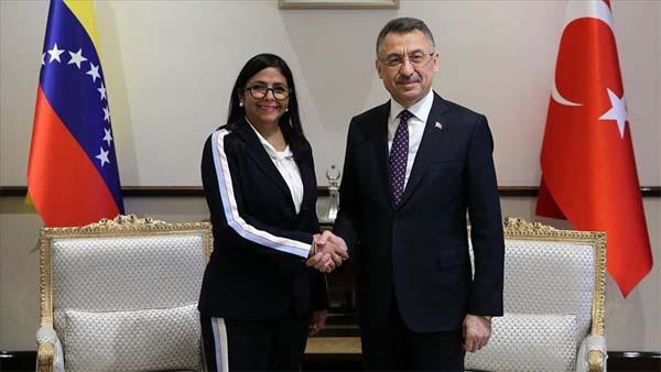 Cumhurbaşkanı Yardımcısı Oktay, Venezuela Devlet Başkan Yardımcısı Rodriguez ile görüştü