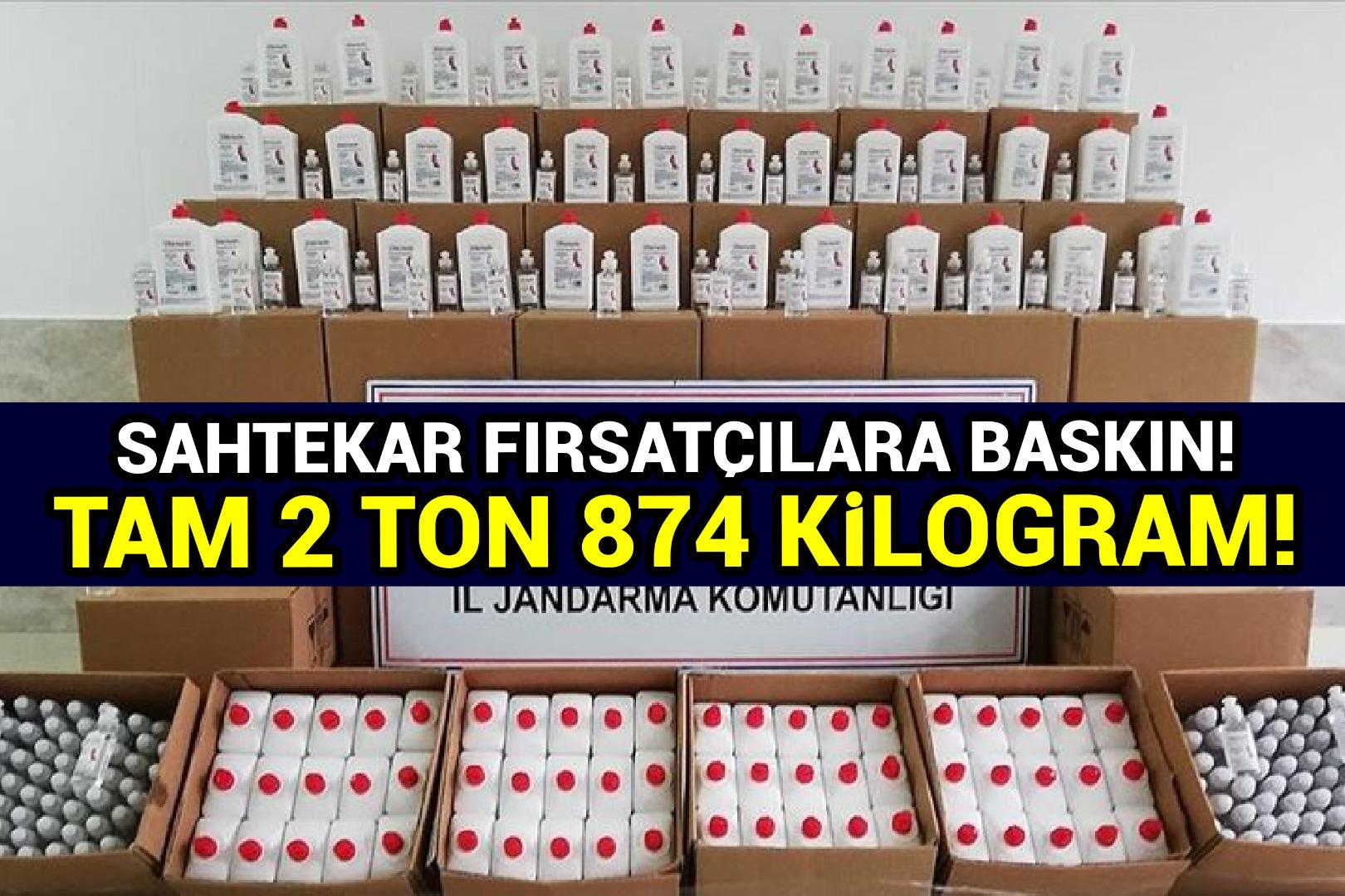 2 ton 874 kilogram sahte dezenfektan ele geçirildi
