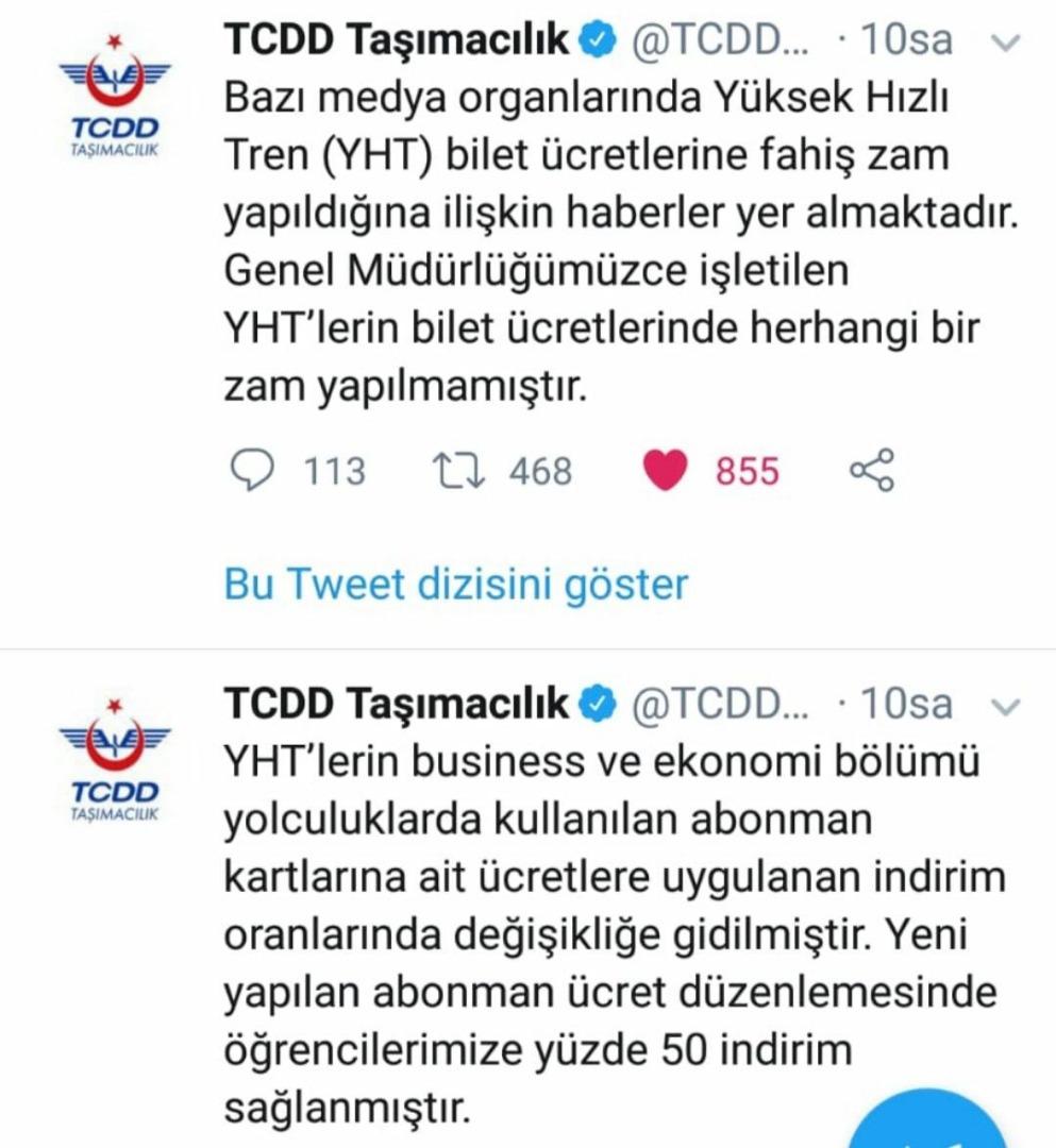 TCDD: BİLETLERE ZAM DEĞİL, ABONMAN İNDİRİM ORANLARINDA DEĞİŞİKLİĞE GİDİLMİŞTİR