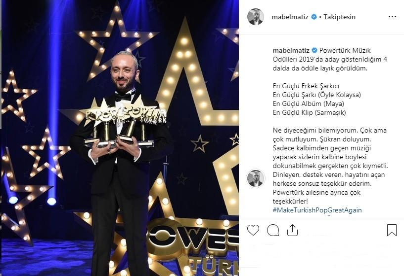 Powertürk Müzik Ödülleri'ne Mabel Matiz damga vurdu