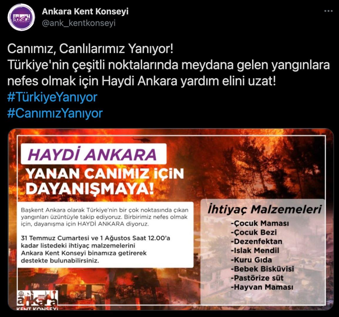 """Ankara Kent Konseyi'nden """"Türkiye'ye Nefes Ol"""" çağrısı"""
